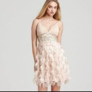 SUE WONG Champagne Floral Cocktail Dress Size 0